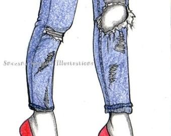 ACEO Original, artist trading card, hand drawn fashion illustration