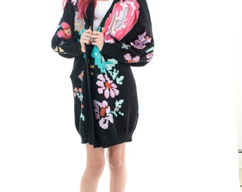 Vtg Awesome Rare Sequin Beaded Comfy Floral Embroidered Long Abstract Black Digital Oversized Hippie Cardigan S/M/L