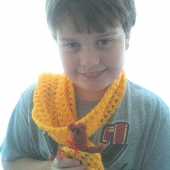 Child's Scarf - Bus - School Bus - Yellow - Crocheted - Ready to ship