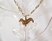 Darling Dachshund, a Golden Long Dog Necklace