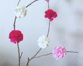 6 pieces Romantic Pink White Fuchsia Peony Satin Flowers Decor. Baby Shower Centerpiece. Rustic Wedding Decoration