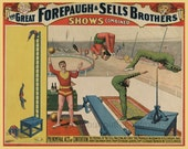 antique victorian circus poster contortionist acrobats illustration DIGITAL DOWNLOAD
