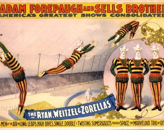 antique victorian circus poster aerialists gymnasts acrobats illustration DIGITAL DOWNLOAD
