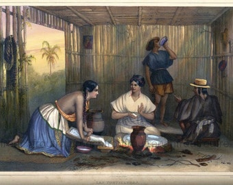 antique mexico illustration the tortilleras american indian women making tortillas DIGITAL DOWNLOAD