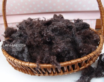 Organic dark brown/ black Loose Curls Newborn Photography Props,in locks washed dyed fleece for Doll Hair, spinning and felt