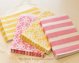 Paper Bags, 20 Pink Lemonade Party Favor Treat Bags, Candy Bags, Pink Paper Bags, Yellow Paper Bags, Lemonade Stand Favor Bags, Cookie Bags