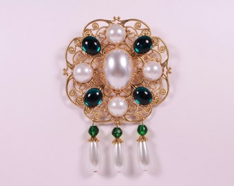 White Pearl, Emerald and Brass Tudor Brooch Renaissance Medieval Jewelry Pin Borgias Jane Seymour