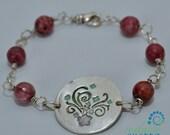 RARE Rhodochrosite and Handmade Silver Bracelet  floral Motif