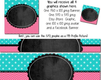 DIY Blank Etsy Banner and Facebook Set - The Rylie - Customize for your Store