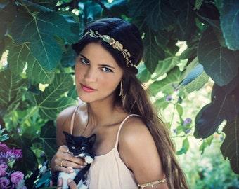 Rosalyn Bridal Hair Piece, Flowers Hair Wreath, Pearls, Golden Leafs Headband, Greek Goddess, Crown, Leaf Hair Wreath, Flower Child Headband