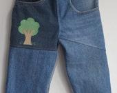Denim Pants with Applique Tree