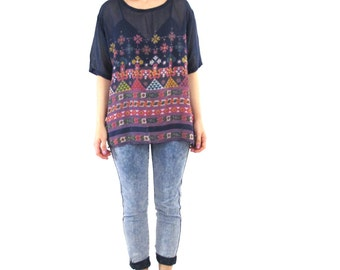 Vintage Geometric Print Tshirt Blouse Navy Blue Colorful Paper Thin Top Made in India Short Sleeve Shirt Boho Triangles Suns Summer Top (L)