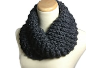 Gray Cowl, Bulky Cowl, Hand Knit Scarf, Knit Scarf, Winter Scarf, Outlander Inspired Scarf, Charcoal Scarf,  Circle Scarf, Neck Warmer