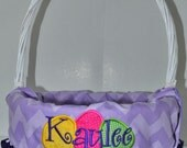 Personalized Easter Baskets with personalized basket liner for Girls or Boys  INCLUDES BASKET