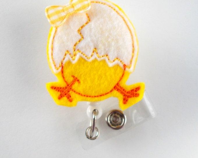 Easter Hatching Chick in Egg - Medical Assistant Badge Holder - School Badge Reel - Nurse Badge Holder - Nursing Badge Clip - Felt Badge -