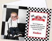 Race Car Party Photo Thank You Cards - Professionally printed *or* DIY printable