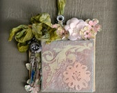 Mixed Media Assemblage Ornament, Floral Mixed Media Canvas, Original Mixed Media Wall Art, One Of A Kind Assemblage Art, Rustic Floral Ornie
