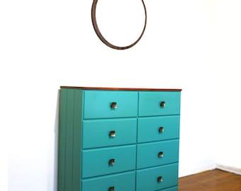 Handpainted Jade Green Dresser. 8 drawer. Vintage Wood Bedroom. Summer Home Trends. Brass Knobs