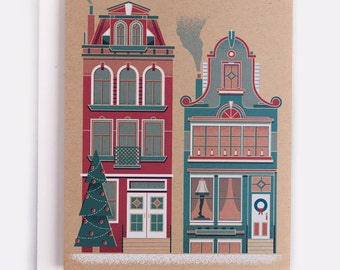"Row House Holiday Card - 100% Recycled French Paper Speckletone Kraft, Vintage Inspired, 4.25"" x 5.5"" A2"
