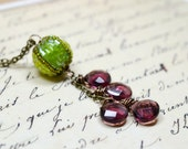 Green and Purple One of a Kind Lariat Necklace, Unique Beaded Necklace, Bohemian Necklace, Y Necklace Apple Green Grape Purple Boho Jewelry