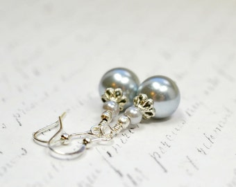 Beaded Gray Pearl Dangle Earrings, Light Dove Grey Beaded Dangles, Simple and Affordable Gray and Silver Pearl Jewelr