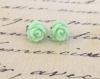 Tiny Mint Green Rose Earrings / Fresh Mint Flower Stud Earrings / Pale Green Earrings / The Rosie Small Size Studs
