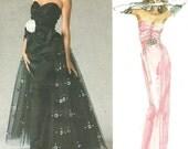 Vogue 1853 Vintage Designer Original Sewing Pattern By Bellville Sassoon // Strapless Evening Dress Gown // Size 12 Bust 34