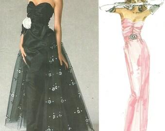 Vogue 1853 / Vintage Designer Original Sewing Pattern By Bellville Sassoon / Strapless Evening Dress Gown / Size 10