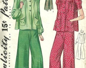 Simplicity 3490 / Vintage 40s Sewing Pattern / Pajamas / Size 14 Bust 32
