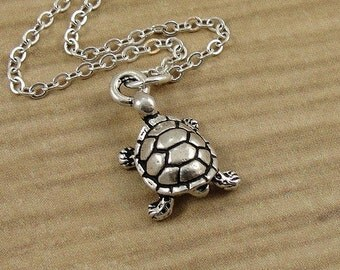 Turtle Necklace, Silver Turtle Charm on a Silver Cable Chain