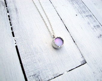 Sale - Minimalist Iridescent White Stained Glass Round Necklace