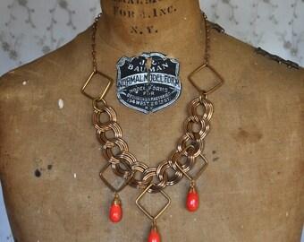 Vintage Mixed Metal and Bittersweet Orange Bib Choker Necklace