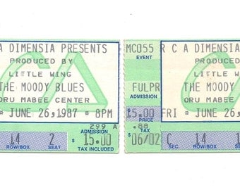 1987 The Moody Blues Concert Ticket Stubs Tulsa Oklahoma Paper Ephemera Rock and Roll Music Show Rare Classic Progressive Memorabilia Decor