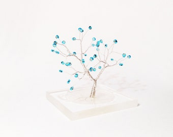 blue wire art tree statue resin base minimal home decor miniature office decoration yoga spiritual decor blue tree of life throat chakra