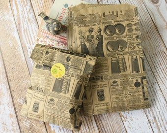 small vintage newsprint VICTORIAN LADIES Kraft paper giftwrap bags