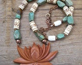 Sale Carved Lotus Pendant Necklace Hand Carved Sawo Wood with Vintage Turquoise and Carved Buffalo Bone Indonesian Lotus Jewelry