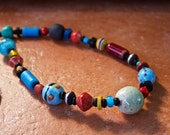 Colorful Trade Bead Necklace Bright Blue Red Yellow Glass Paper and Clay Beads Playful Long Necklace Ethnic African Jewelry