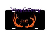 Deer Antlers Personalized License Plate - Car Decal - Vinyl Car Decal, Signage, Hunting Gift, Personalized Decal, Hunting Decal