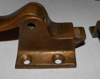 Choice vintage cast brass cupboard flush latch with catch  restoration hardware,