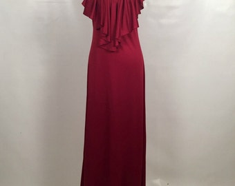 Vintage 1970s Burgundy Sleeveless Maxi Dress