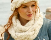 Knit headband scarf set. Women headband neckwarmer. Superbulky braided stitches Wool infinity scarf. Pick your color. Valentine's gift