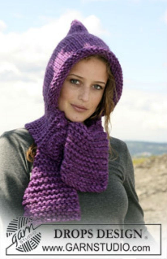Free Knitting Pattern Hat Scarf Attached : Items similar to Knit hat Womens hat Womens bonnet with ...