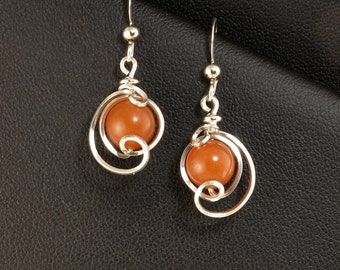 Orange Aventurine Sterling Silver Small Drop Earrings, Small Tangerine Unique Silver Wire Wrapped Dangle Earrings, Orange Silver Earrings