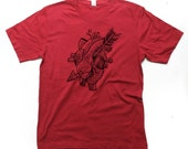 Heart Tshirt, Heart and Arrow, Tattoo Shirt, Custom Color Tshirt, Small, Medium, Large, XL, 2XL (14 Color Options)