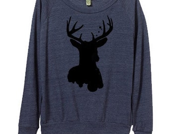 Womens Deer Sweatshirt - Women's Sweater - Small, Medium, Large, Extra Large (3 Color Options)