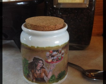Goddess Caffeina Porcelain Café Sugar Jar