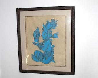 P. Argaez P. Mayan Temple Rubbing of Deity YUM KAAX - Turquoise Blue - Large Wood Frame