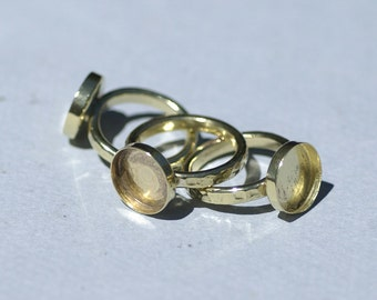 Brass Round Bezel Ring Hammered for Resin Gluing or Setting - Size 7