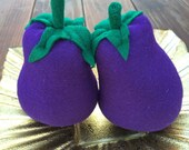 Felt Eggplants, Handcrafted Toy,  Pretend Play Food or Home Decor, Set of 2