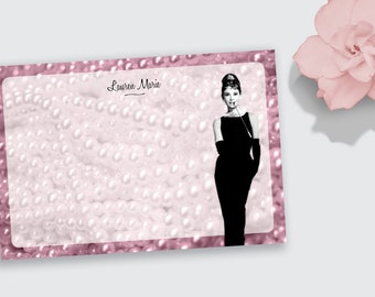 Notecard / Stationery - Personalized - Audrey Hepburn Pearls - Printable File